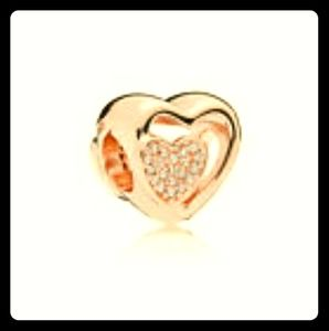 Rose Gold Double Heart European Charm